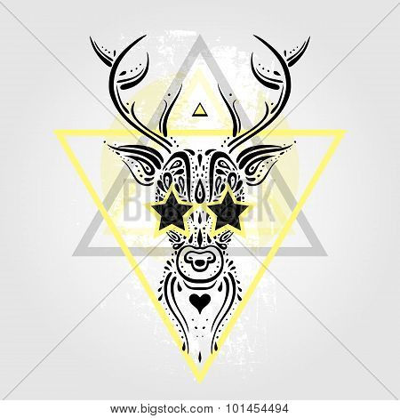 Deer head. Tribal pattern.