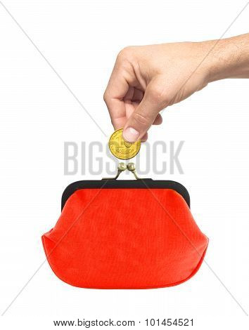 Golden Coin In Man Hand And Red Purse Isolated On White