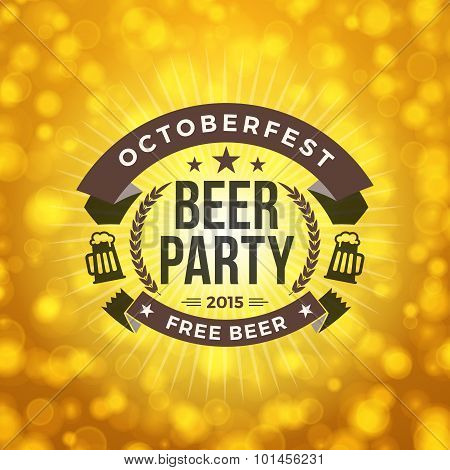 Beer Party. Octoberfest Celebration. Retro Style Badge Vector Template On Bright Yellow Background