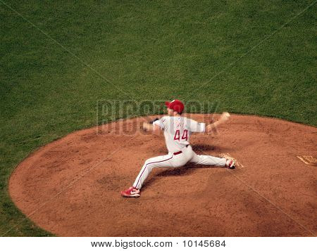 Philadelphia Phillies Roy Oswalt Steps Forward To Throw Pitch In Relief