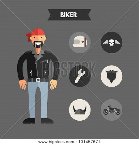 Flat Design Vector Illustration Of Biker With Icon Set