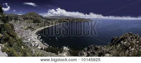 Lake Titicaca Copacabana Bay Blue Sky And Water