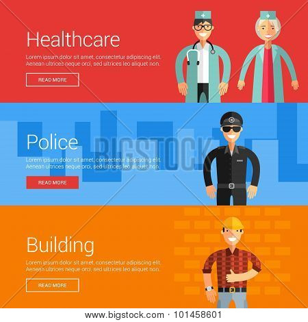 Healthcare. Police. Buliding. Flat Design Vector Illustration Concepts For Web Banners And Promotion