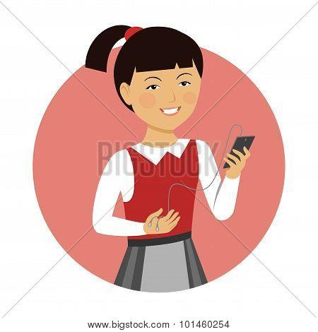 Schoolgirl holding smartphone