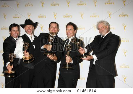 LOS ANGELES - SEP 12:  Deadliest Catch Winners Cinematography at the Primetime Creative Emmy Awards Press Room at the Microsoft Theater on September 12, 2015 in Los Angeles, CA