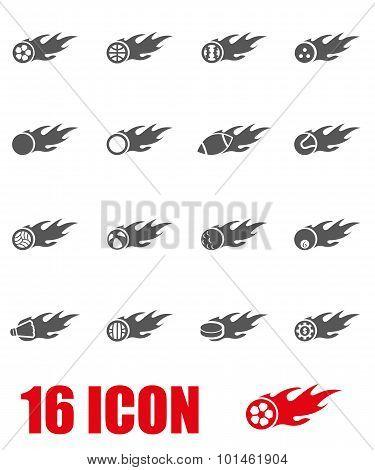 Vector Grey File Sport Balls Icon Set
