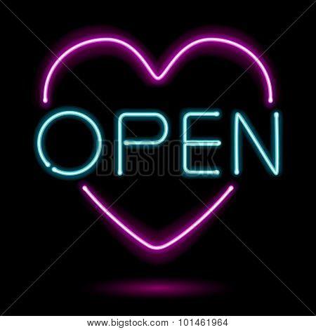Neon sign open heart vector illustration.