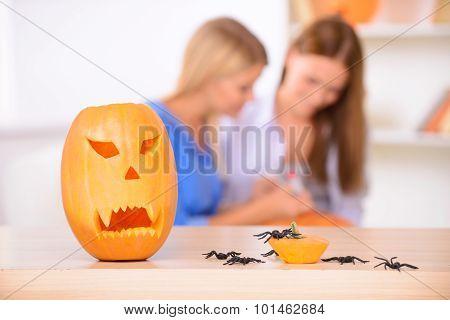 Pretty girls preparing for Halloween party
