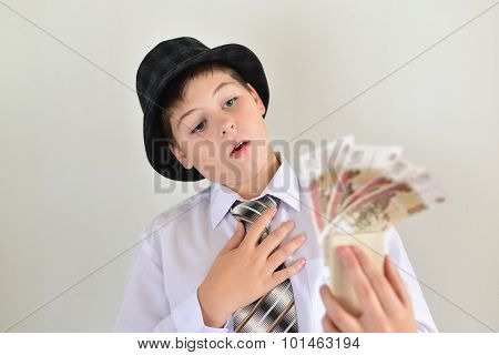 Boy Teenager With A Mousetrap In Hands Of