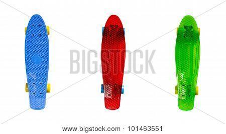 Plastic skateboards isolated on white