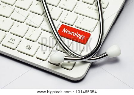 Keyboard, Neurology Text And Stethoscope