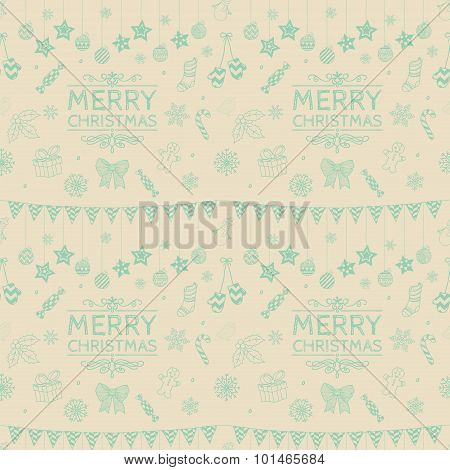 Vector Christmas Subtle Doodles Seamless Background