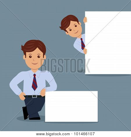 Set of businessman with blank white banner in various action.