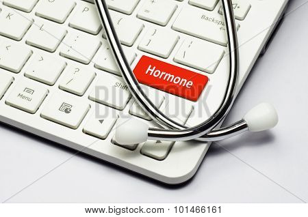 Keyboard, Hormone Text And Stethoscope