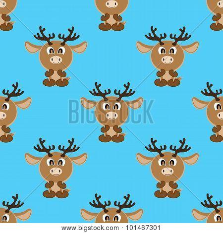 Seamless Vector Background Funny Animals Symbol Deer
