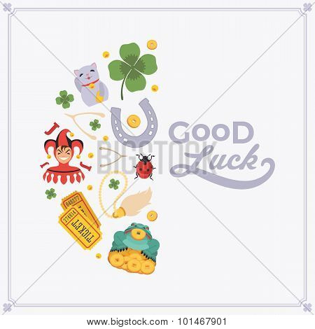 Vector decorating design made of Lucky Charms, and the words Good Luck