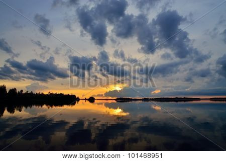 Romantic Twilight. Lake Pongoma. Karelia, Russia