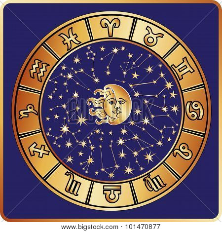 All zodiac sign,moon,sun.Horoscope circle