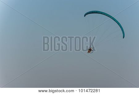 Powered Parachute In Flight.