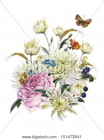 Watercolor Card with Chrysanthemums