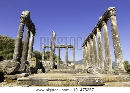 Columns Of The Ancient Temple Of Zeus At Euromos Was An Ancient City In Caria Anatolia Turkey