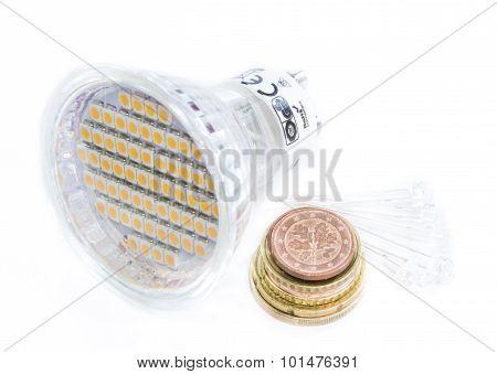 Led Light Bulb With European Money