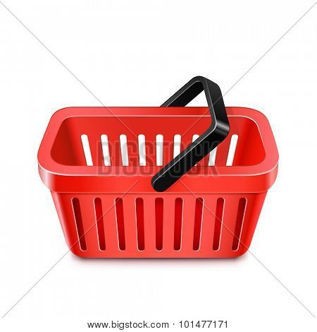 Red shopping basket icon. Vector illustration of shopping cart
