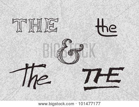 Handwritten catchwords and ampersand. Vector illustration