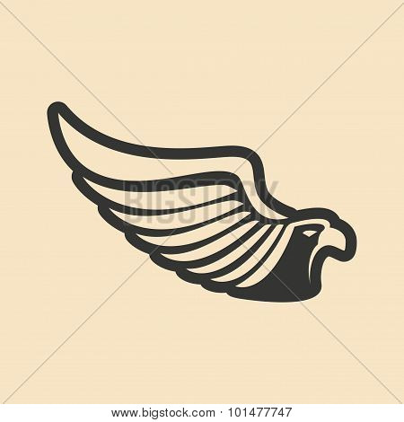 Flat in black and white mobile application eagle logo