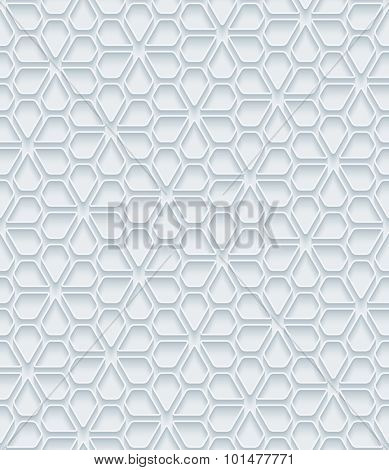 Flowers. White paper with outline extrude effect. Abstract 3d seamless background.