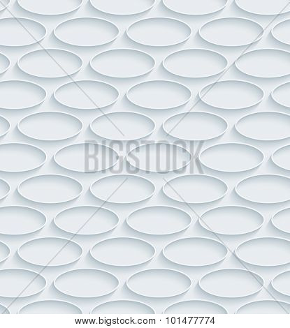 Ellipses. White paper with outline extrude effect. Abstract 3d seamless background.