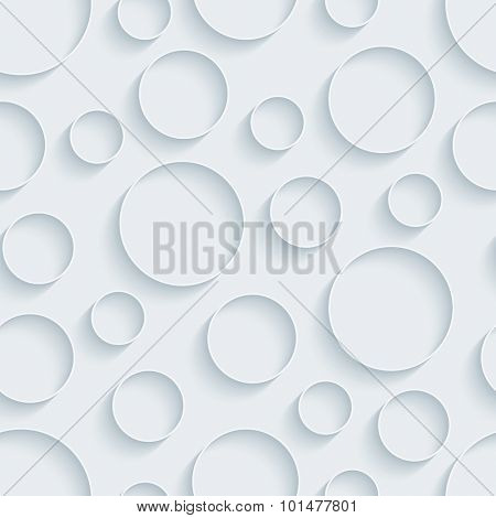 Circless. White paper with outline extrude effect. Abstract 3d seamless background.