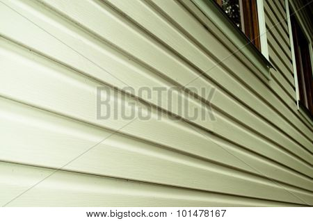 White Siding Wall Closeup View