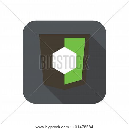 Vector icon web shield with shape symbol for node js framework - isolated flat design illustration l