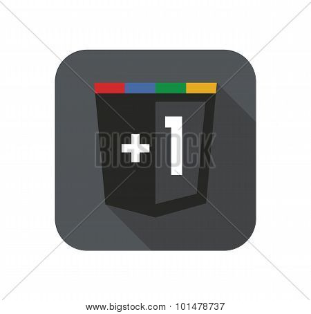Vector grey web development shield illustration, plus one isolated programming badge with long shado