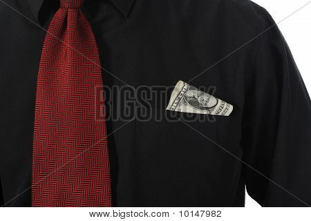 dollar bill into a shirt pocket