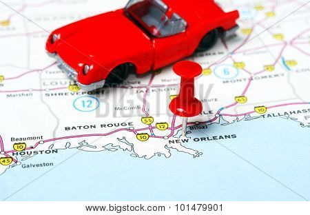 New Orleans  Usa Map Car