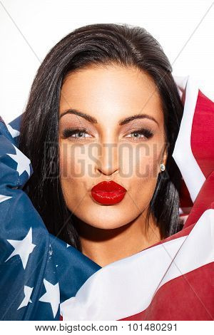 Sexy Woman Portrait Covering With Usa Flag