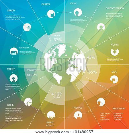Infographics template with business icons. Statistics data presentation. Menu options on polygonal b