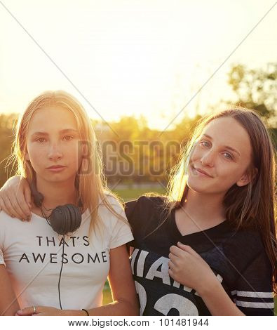 Two Teenage Girls Outside