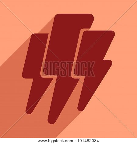 Flat with shadow icon and mobile application thunder Lightning