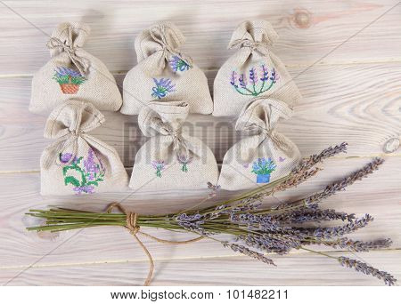 Bunch of dried lavender and lavender bag