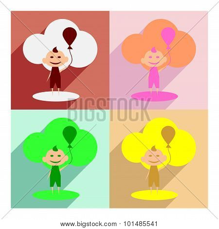 Flat with shadow concept and mobile application Child with balloon