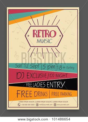 Retro Music Party celebration vintage flyer, banner or template design with date, time and place details.