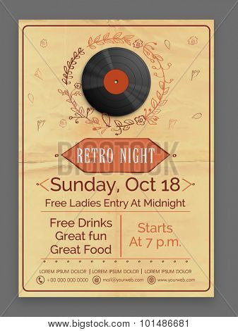Retro Music Party celebration vintage flyer, banner or template design.