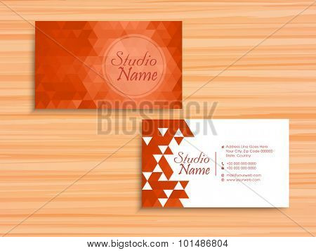 Stylish horizontal business card, name card or visiting card set with origami abstract design in orange and white colors.