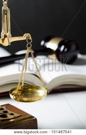 Law Composition With Scale And Gavel On Books