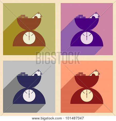 Flat with shadow icon concept Scale full of money