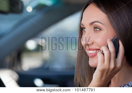 Beautiful young businesswoman is using telephone in transport