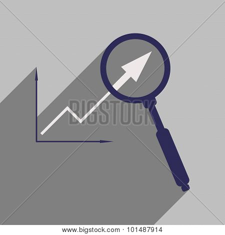 Flat with shadow icon Economic graph and zoom